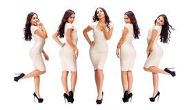 Young arabic women in beige sexy dress. Collage five sexy woman. Young arabic models in beige dress, isolated on white background Stock Photography