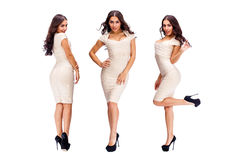 Young arabic women in beige sexy dress. Collage five sexy woman. Young arabic models in beige dress, isolated on white background Royalty Free Stock Photo