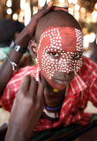 Young Arbore man in South Omo, Ethiopia. Young Arbore man with face painting in South Omo, Ethiopia Stock Photo