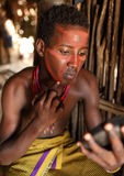 Young Arbore man in South Omo, Ethiopia. Young Arbore man with face painting in South Omo, Ethiopia Stock Images