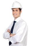 Young architect. A over white back ground Royalty Free Stock Images