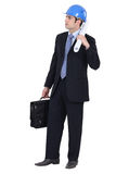 Young architect. With plans and case Royalty Free Stock Photo