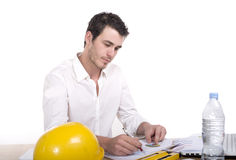 Young architect absorbed in work Royalty Free Stock Images