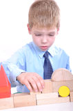 Young architect with blocks Royalty Free Stock Photos