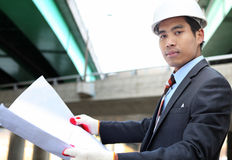 Young architect  with blueprint Stock Images