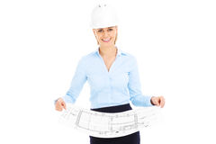 Young architect with blueprints Stock Image