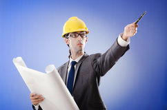 Young architect with drawings Stock Photos