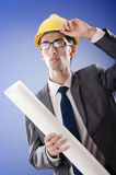 Young architect with drawings Royalty Free Stock Images