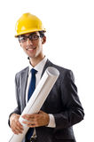 Young architect with drawings isolated Stock Photo