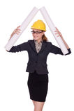 Young architect with drawings Royalty Free Stock Image