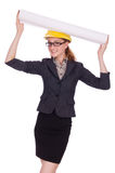 Young architect with drawings Royalty Free Stock Photography