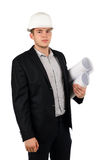 Young architect or engineer with blueprints Royalty Free Stock Images
