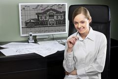 Young architect at her workplace Stock Photography