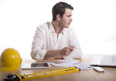 Young architect in his office Royalty Free Stock Images