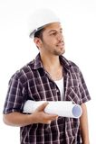 Young architect holding blueprint Royalty Free Stock Photo