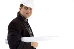 Young architect holding blueprints. On an isolated white background Royalty Free Stock Photo