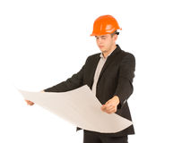 Young architect holding a building plan Royalty Free Stock Images