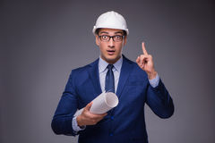 The young architect in industrial concept Stock Photography