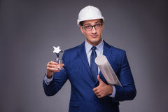 The young architect in industrial concept Stock Photos