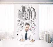 Young architect in office Stock Images