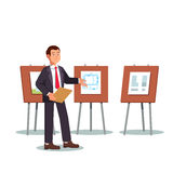 Young architect and presenter showing his project. Blueprints and floor plans on a presentation boards easels. Modern flat style vector illustration isolated on stock illustration