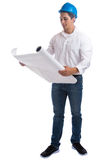 Young architect reading plan full body portrait occupation job i. Solated on a white background Stock Image