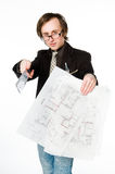 Young architect with sketch and ruler Royalty Free Stock Photography