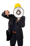 Young architect thumb down and megaphone Royalty Free Stock Image