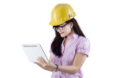 Young architect using a digital tablet Stock Images