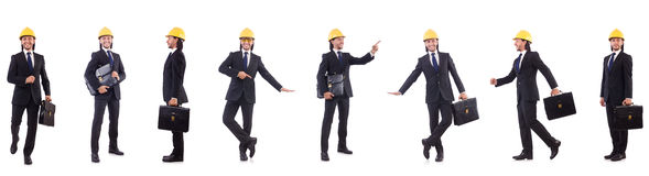 Young architect wearing hardhat on white Royalty Free Stock Images