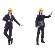 The young architect wearing hardhat on white Royalty Free Stock Image