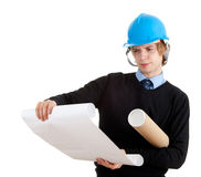 Young architect wiht blueprints Stock Images