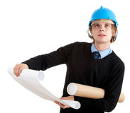 Young architect wiht blueprints Royalty Free Stock Image
