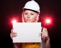 Young architect woman construction worker, empty poster Royalty Free Stock Images