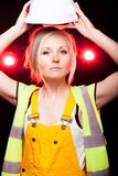 Young architect woman construction worker, safety helmet Royalty Free Stock Photos