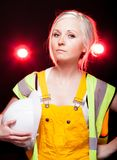 Young architect woman construction worker, safety helmet Royalty Free Stock Image