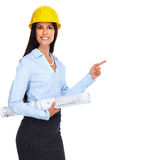 Young architect woman with plan. Stock Images