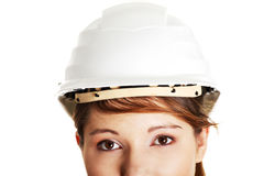 Young architect woman wearing a protective helmet Royalty Free Stock Images