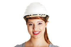 Young architect woman wearing a protective helmet Stock Photos
