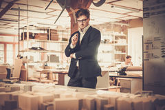 Young architect working in architect  studio. Stock Photo