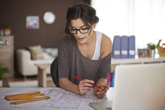 Young architect working at home Royalty Free Stock Photo