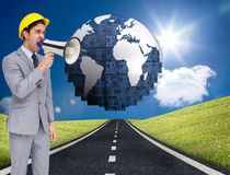Young architect yelling with a megaphone Stock Images