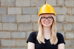 Young architect with yellow helmet Royalty Free Stock Photo