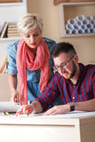 Young architects working on new project in office Royalty Free Stock Images