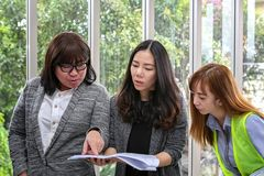 Young architectural team at work. Office worker viewing document in meeting room. Engineer and business team working on project at stock photography
