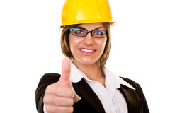 Young arcitect with yellow helmet Royalty Free Stock Photo