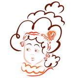 A young aristocrat with a lush solemn hairdo.  vector illustration