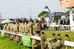 Young Army Apprentice Soldiers at The Great Yorkshire Show. Young Army Apprentices waiting to assist at The Great Yorkshire Show,Harrogate,North Yorkshire stock photos
