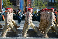 Young army men of the All-Russian military-patriotic movement `Yunarmiya` on Red Square during the dress rehearsal the parade  Vic Royalty Free Stock Photography