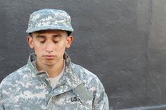 Young army soldier crying close up.  Royalty Free Stock Images